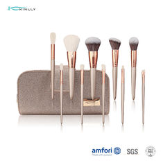 Champagne Full Face Brush Set With Zipper Pouch