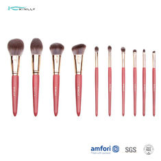 10pcs Synthetic Hair Wooden Handle Makeup Brushes