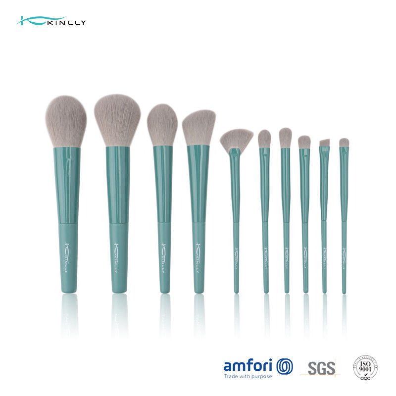 BSCI Long Ferrule 10 Piece Makeup Brush Set for Powder